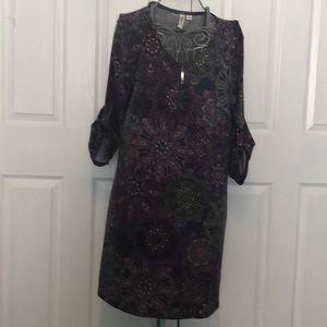 TACERA Purple Pattern Dress w/ zipper at neckline